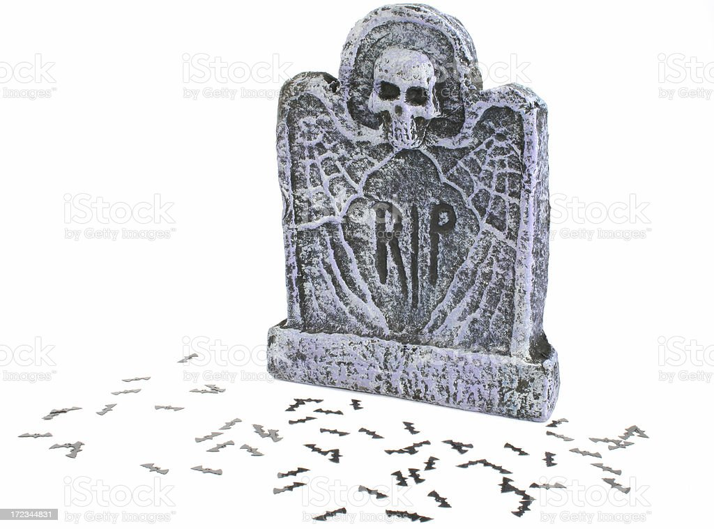 halloween tombstone gravestone with RIP and bats royalty-free stock photo