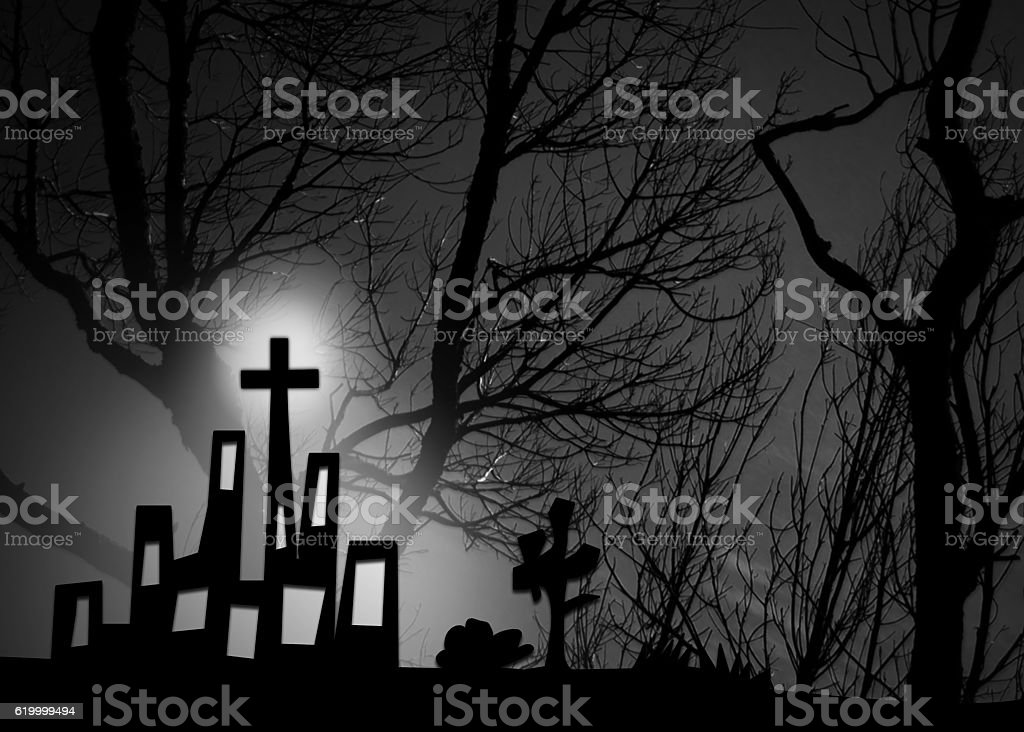 Halloween town concept, Park with tree stock photo