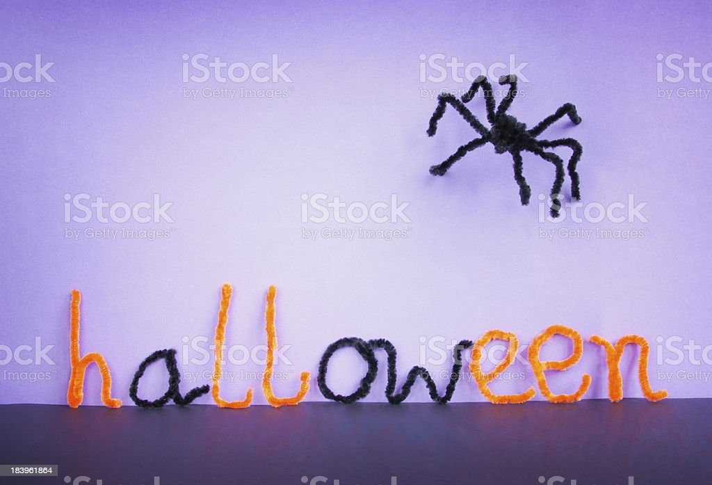 Halloween toy spider, pipe cleaners. stock photo
