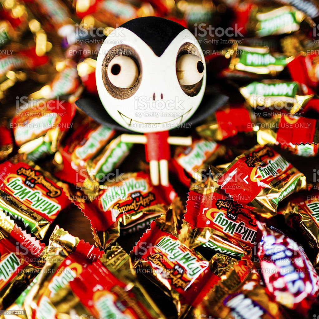 Halloween Trick or Treat Candy with Dracula Decoration royalty-free stock photo