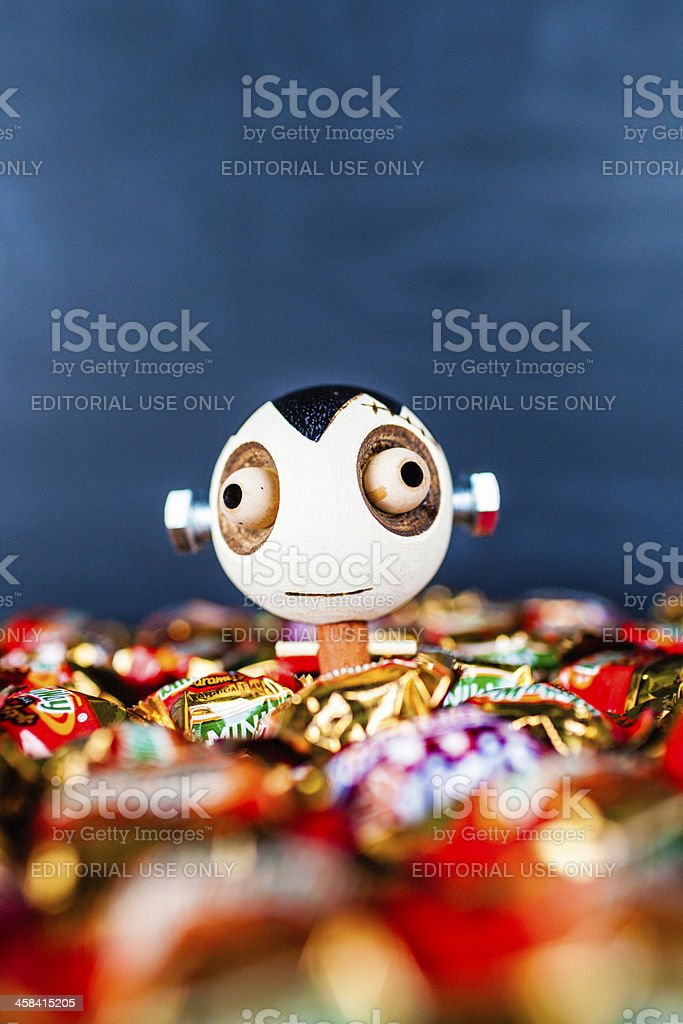 Halloween Trick or Treat Candy with Girl Frankenstein Decoration royalty-free stock photo