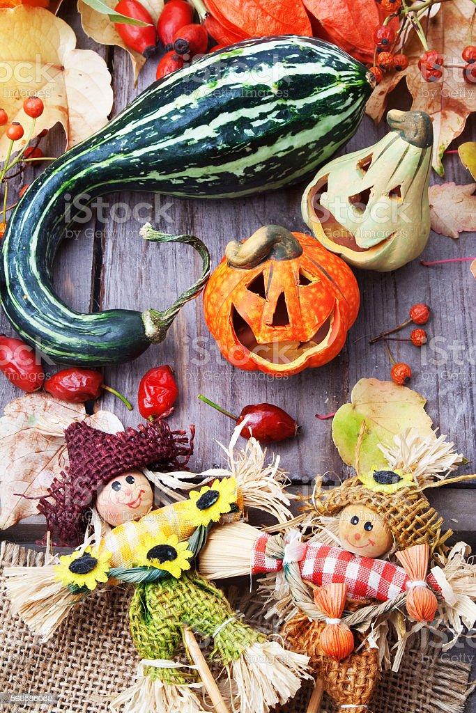 Halloween vampire pumpkins and scarecrows stock photo