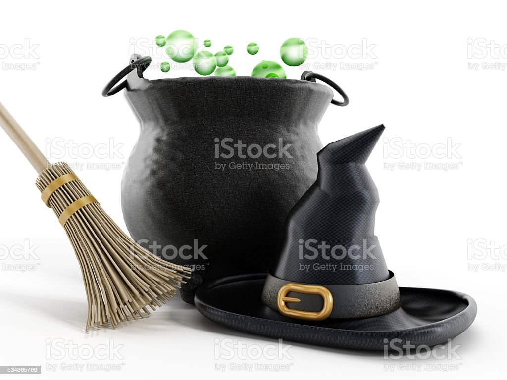 Halloween witch cauldron, hat and broom stock photo