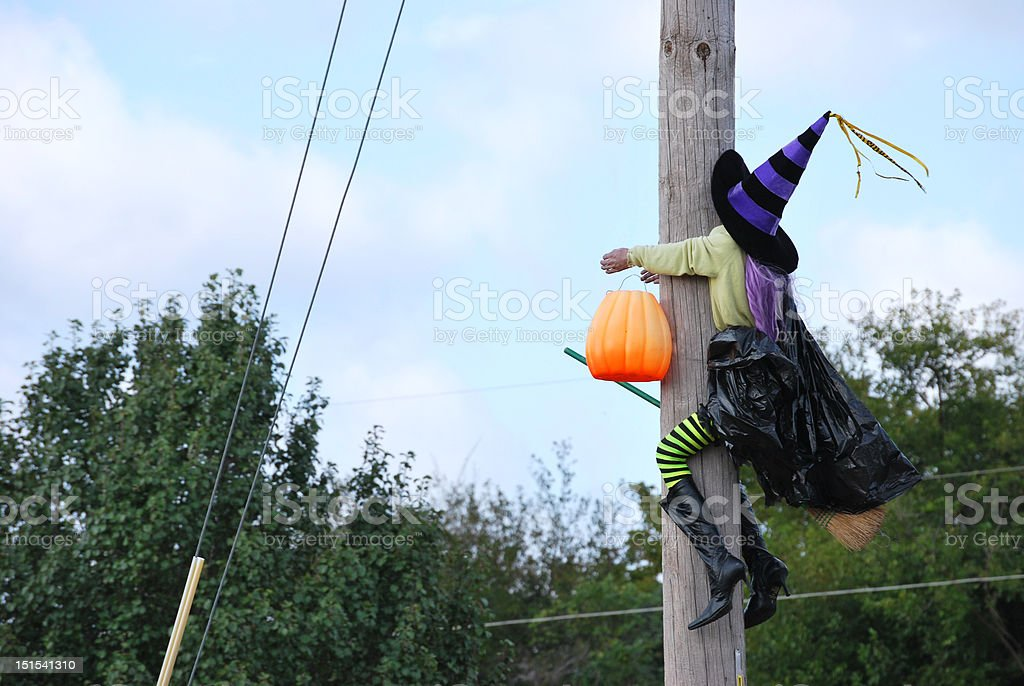 Halloween Witch Crashes Into Pole royalty-free stock photo