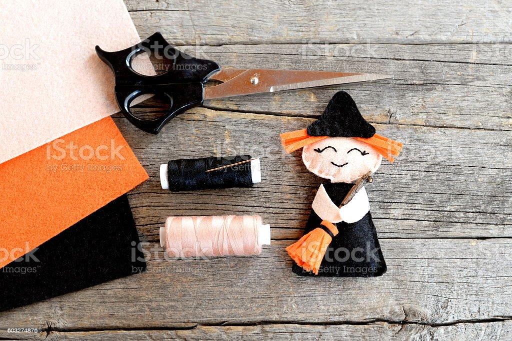 Halloween witch decor stock photo