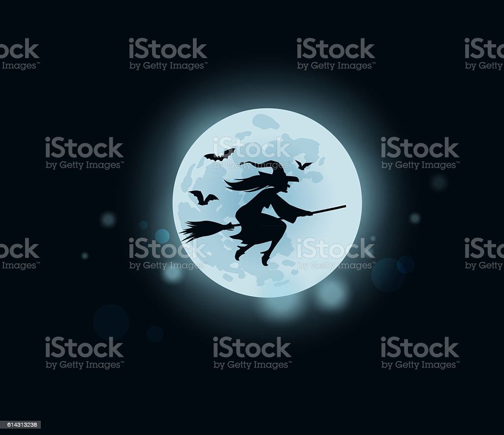 Halloween. witch flying on broomstick stock photo