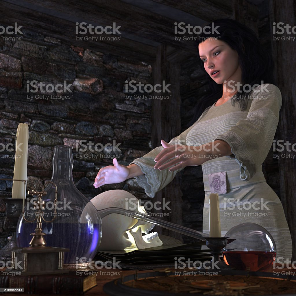halloween witch in laboratory concept background stock photo