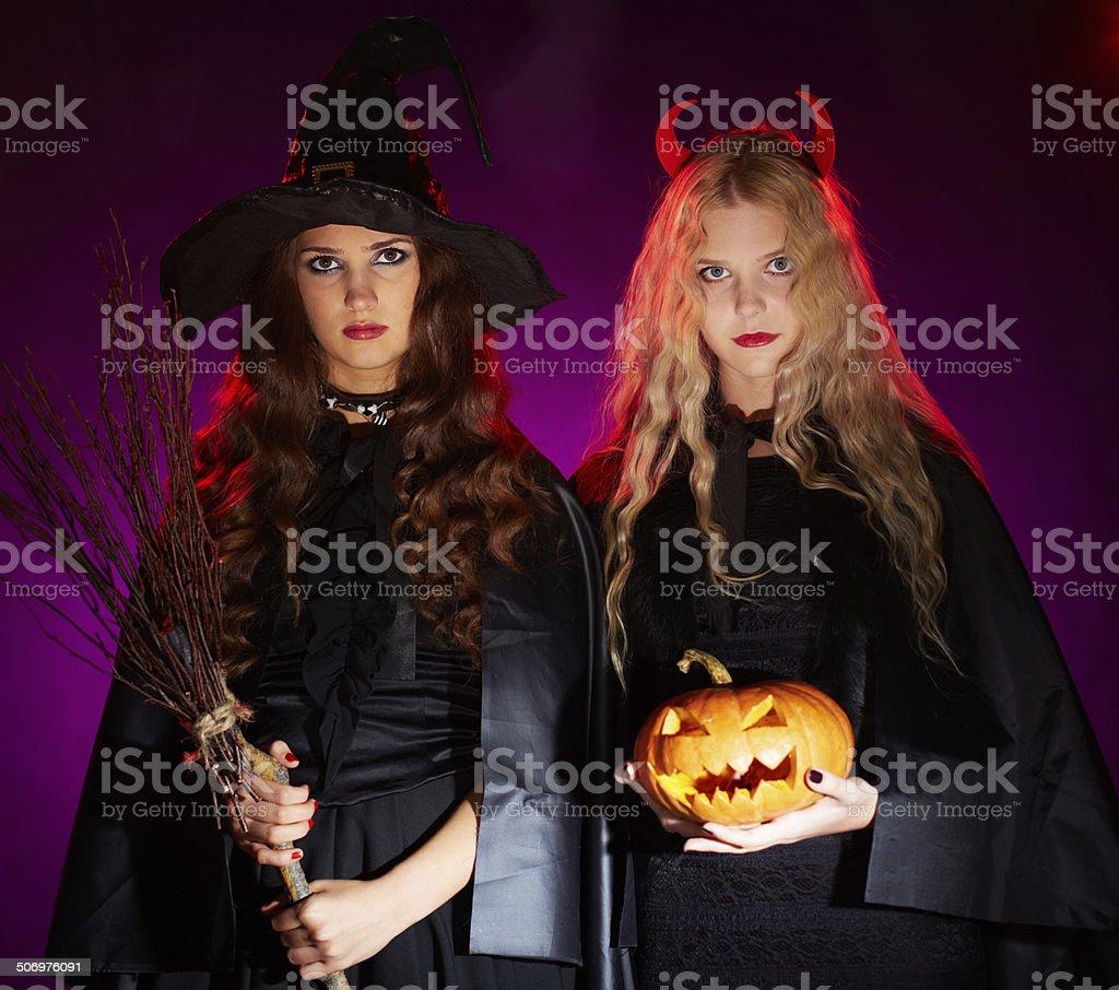 Halloween witches stock photo