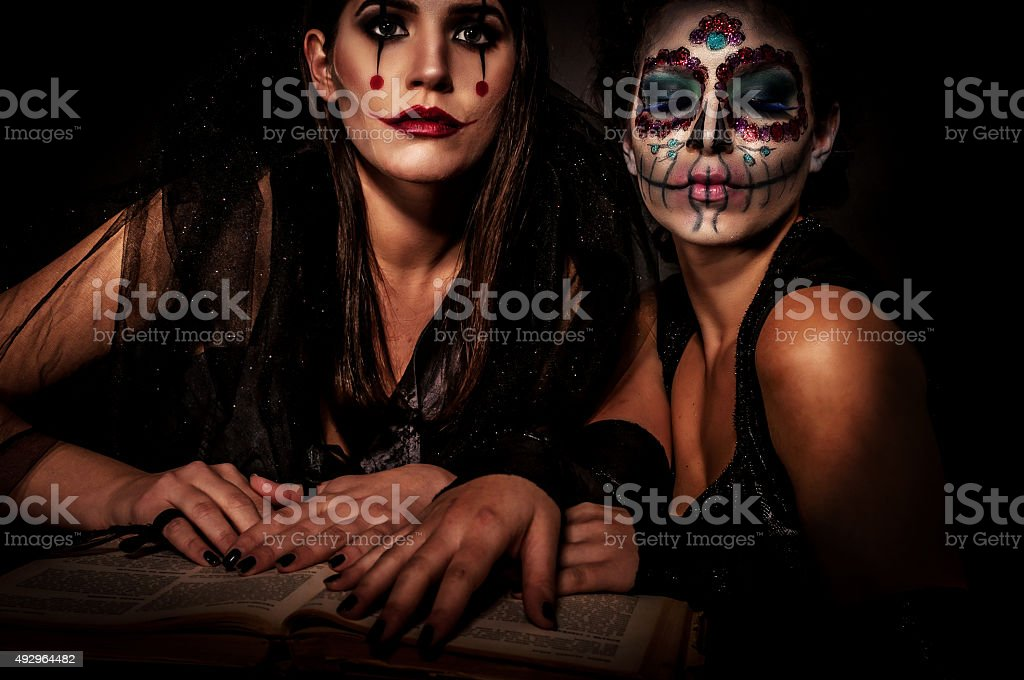 Halloween Witches with extreme make up stock photo