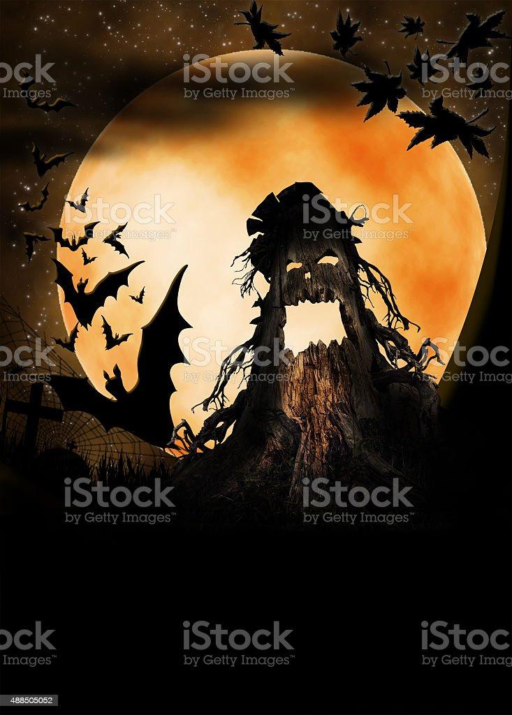 Halloween wooden monster illustration stock photo