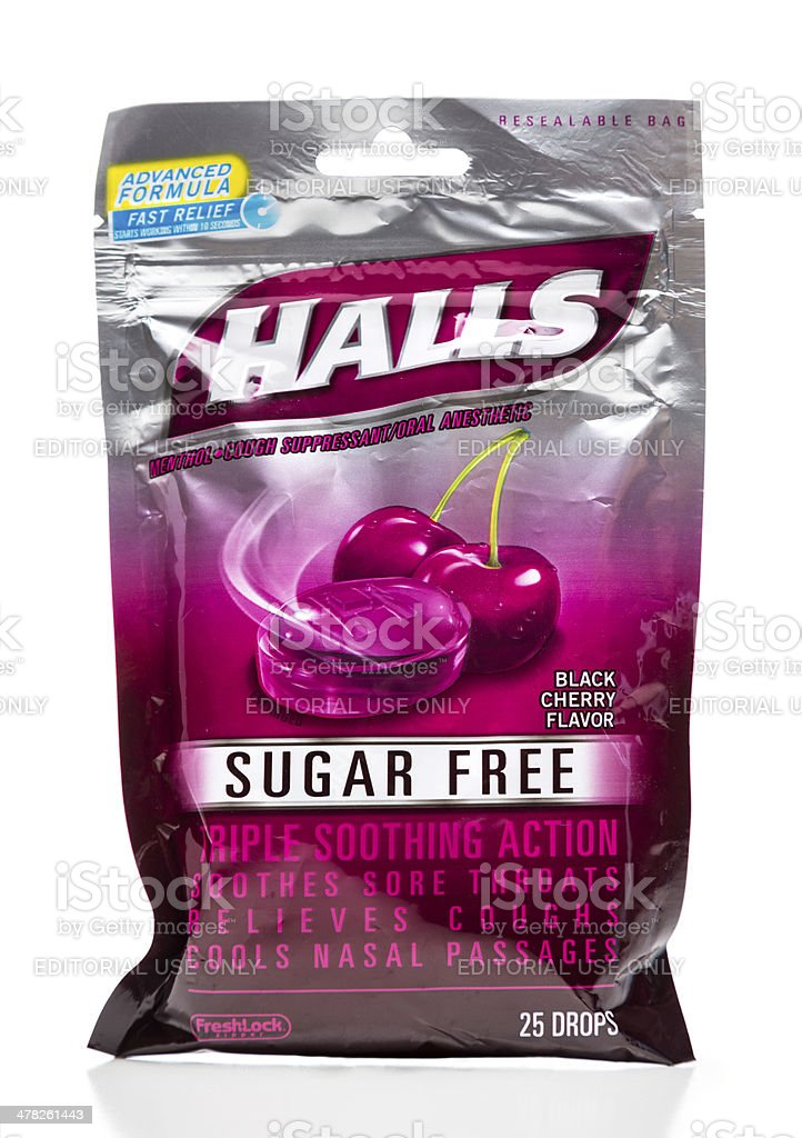 Halls sugar free black cherry flavor drops package stock photo