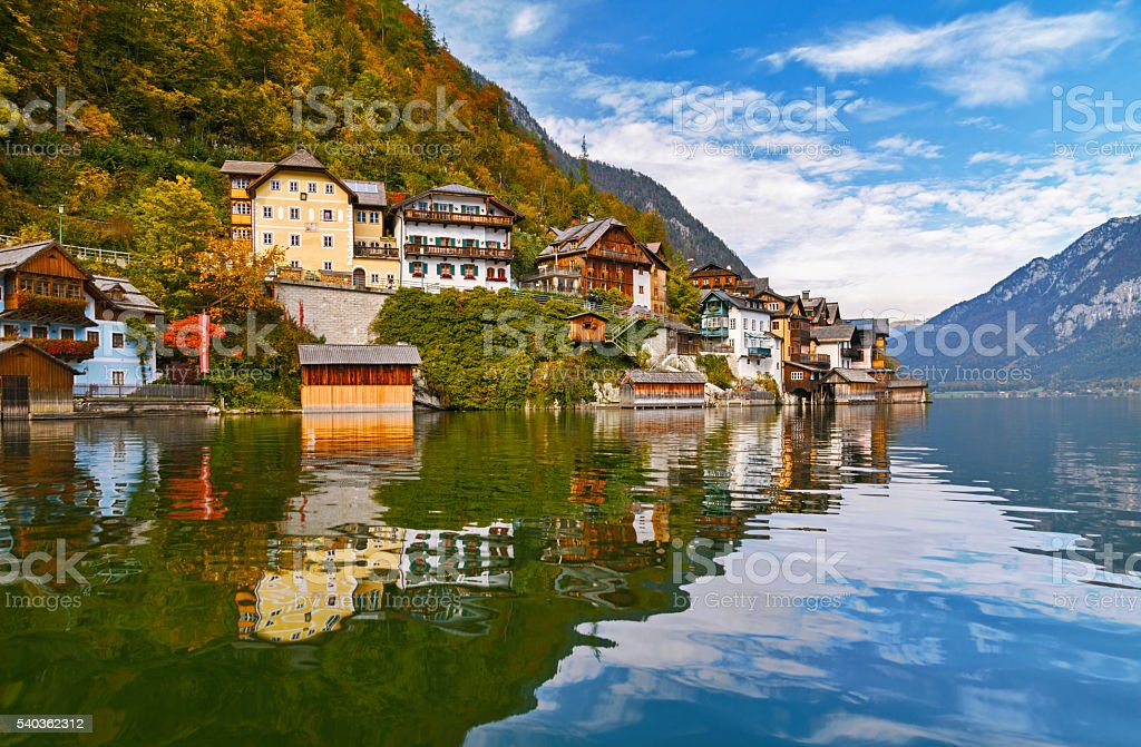 Hallstatt at autumn stock photo
