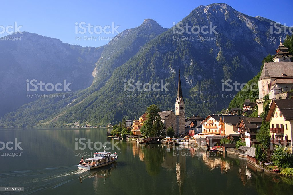 Hallstatt, Austria, lake and waterfront stock photo