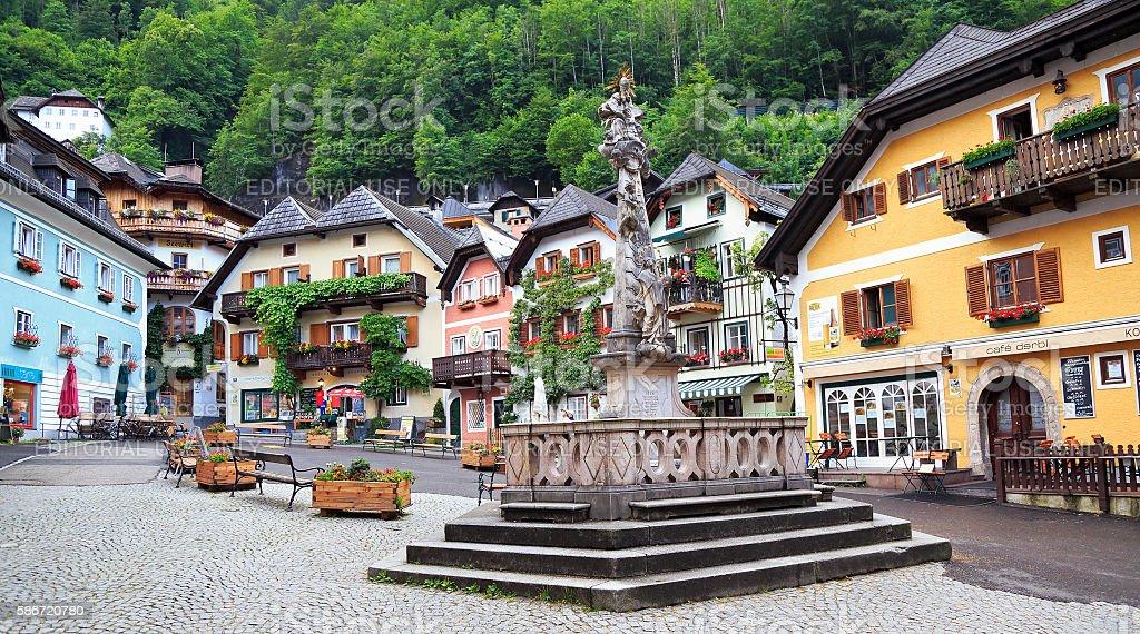 Hallstatt central square, Austria stock photo