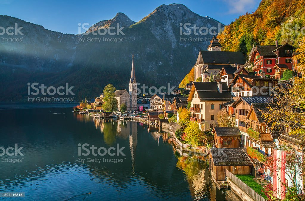 Hallstatt mountain village in fall, Salzkammergut, Austria stock photo