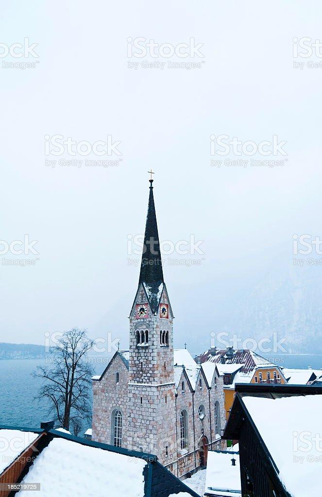 Hallstatt Skyline and evangelic church royalty-free stock photo