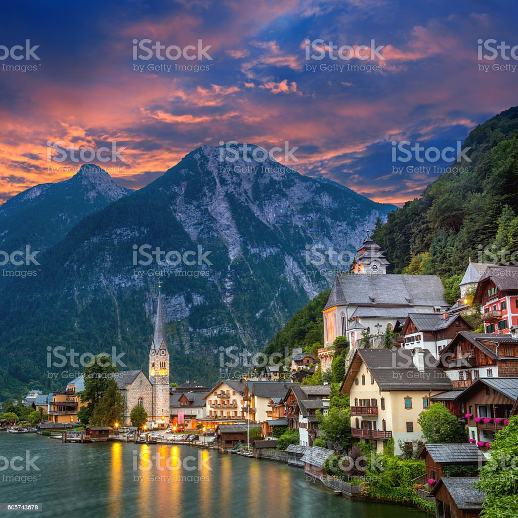 Hallstatt village in Alps and lake at dusk, Austria, Europe stock photo