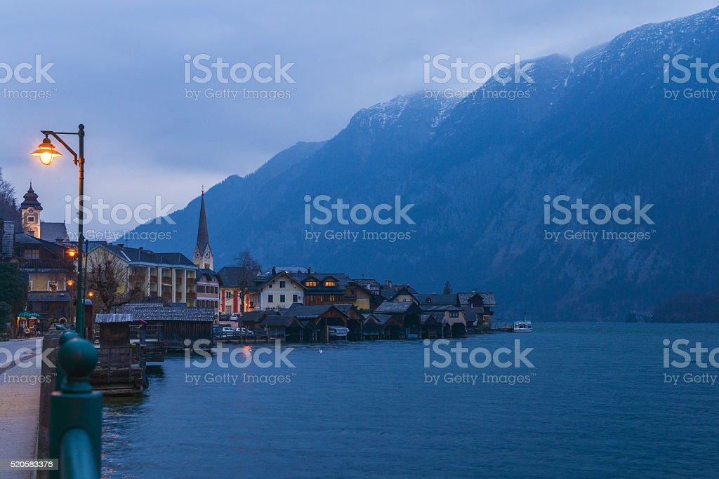 Hallstatt village in Alps at dusk stock photo