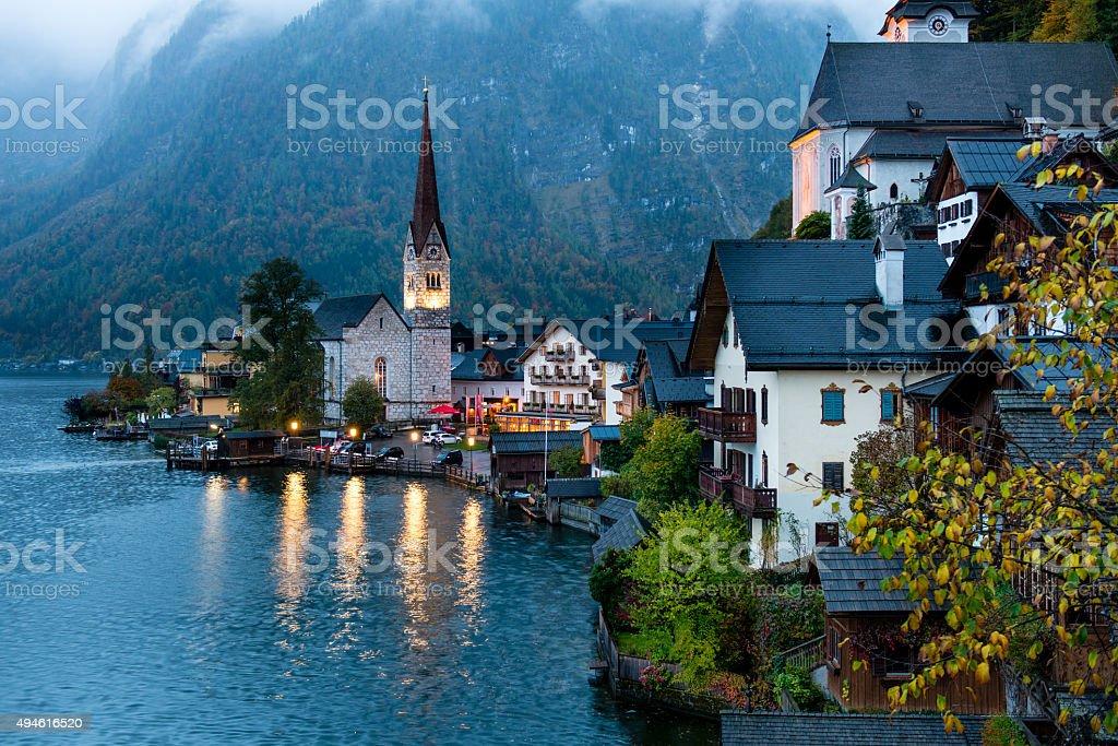 Hallstatt village in Alps stock photo