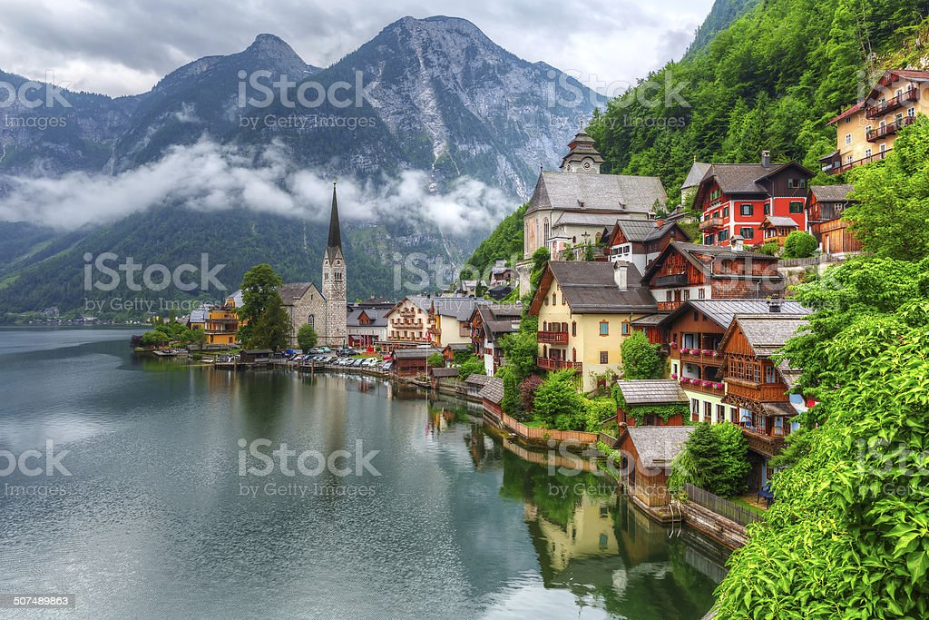 Hallstatt village in Austria stock photo