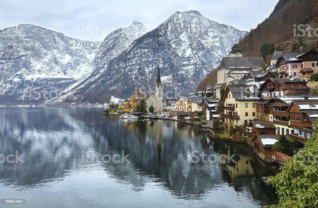 Hallstatt winter view (Austria) stock photo