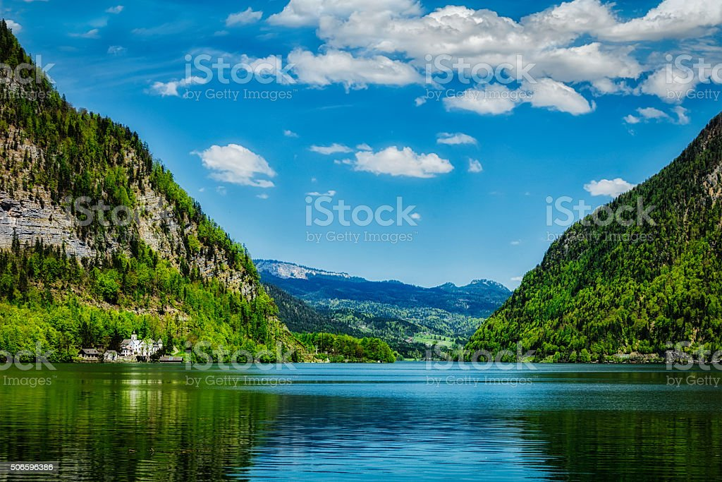 Hallstatter See mountain lake in Austria stock photo