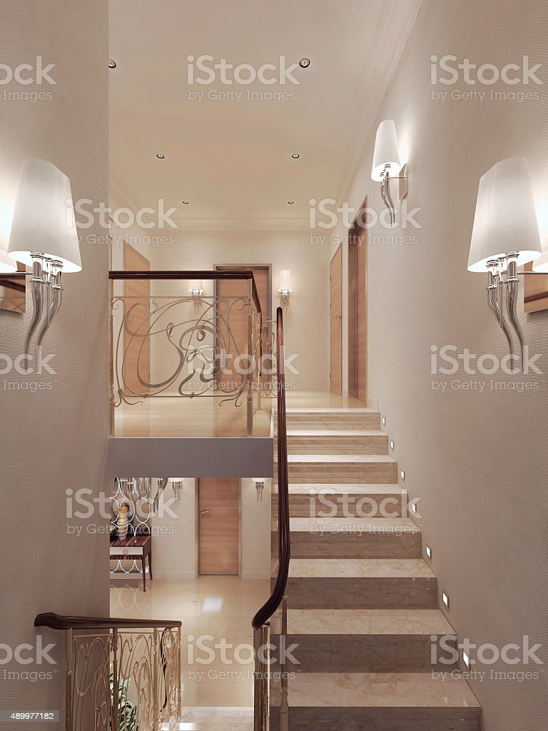 Hallway Art Nouveau style stock photo