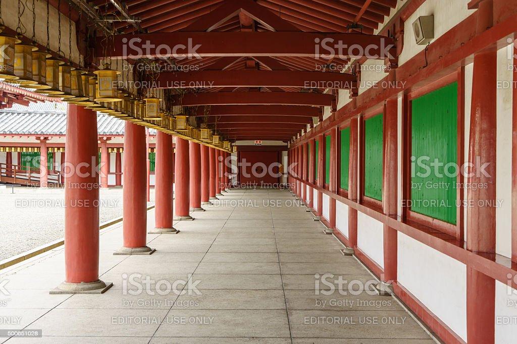 Hallway in Shitennoji Temple in Osaka, Japan stock photo