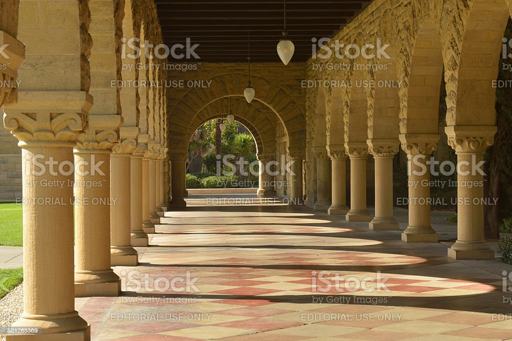 Hallway in Stanford University stock photo
