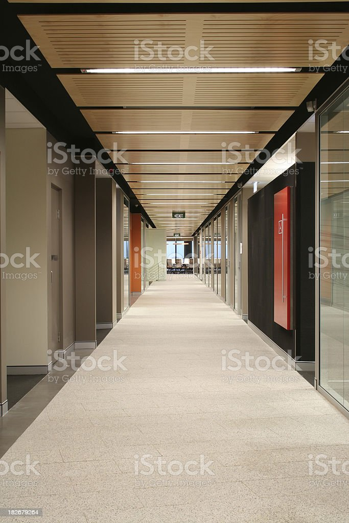 Hallway of a modern office building stock photo