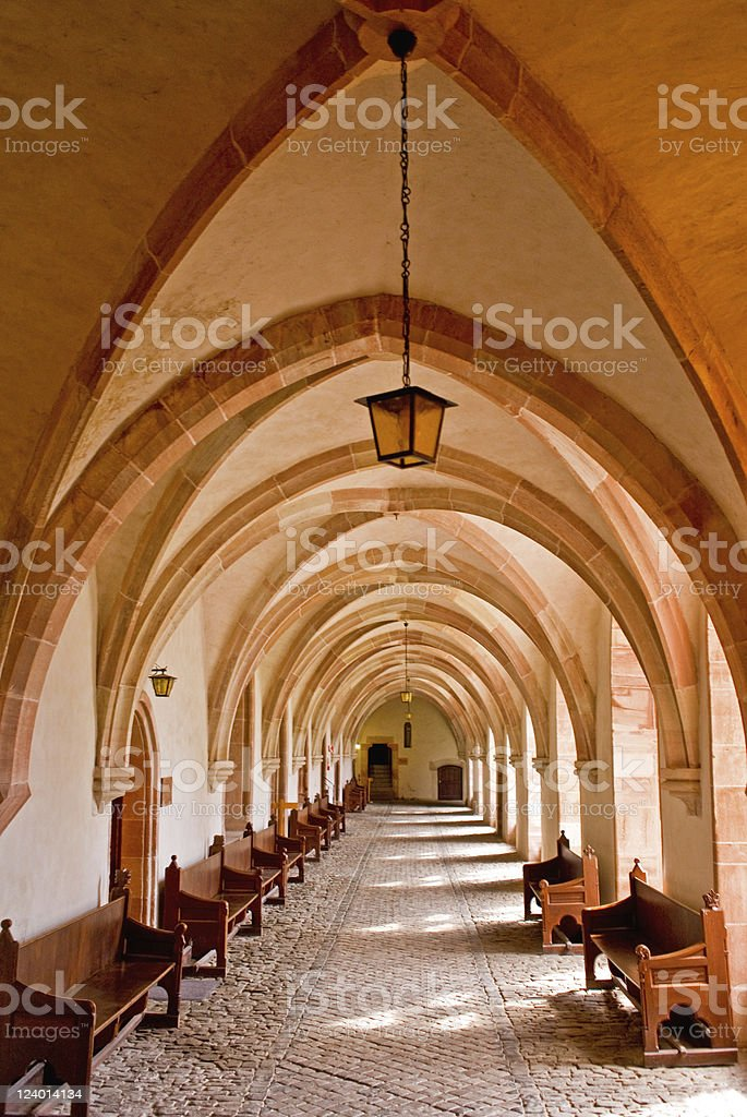 Hallway of Monastery royalty-free stock photo