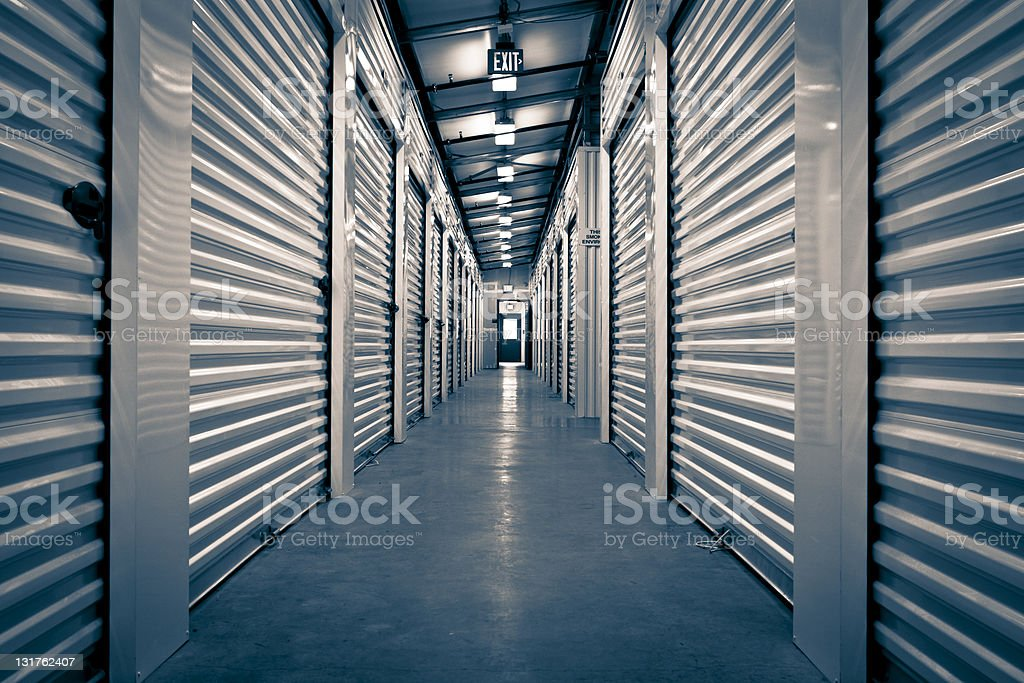 Hallway of Storage Facility stock photo