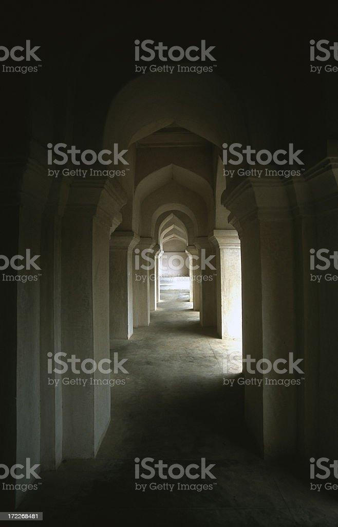 Hallway of temple in Thanjavur, India stock photo