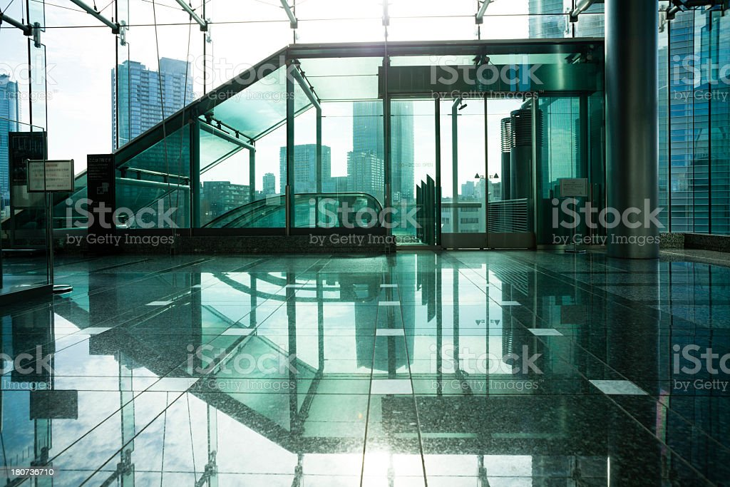 Hallway of the building where light shines royalty-free stock photo
