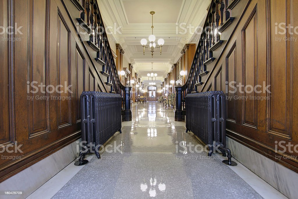 Hallway with Antique Radiator in Pioneer Courthouse royalty-free stock photo