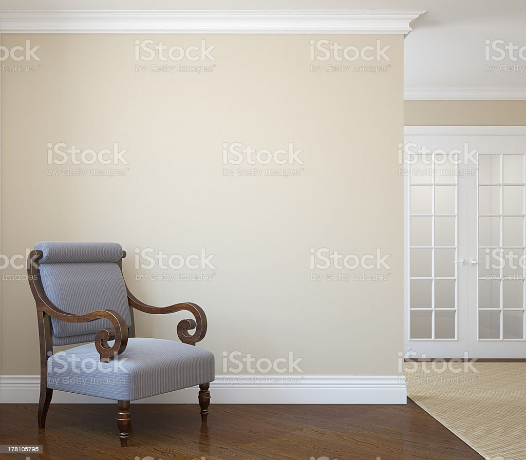 Hallway with single blue chair royalty-free stock photo