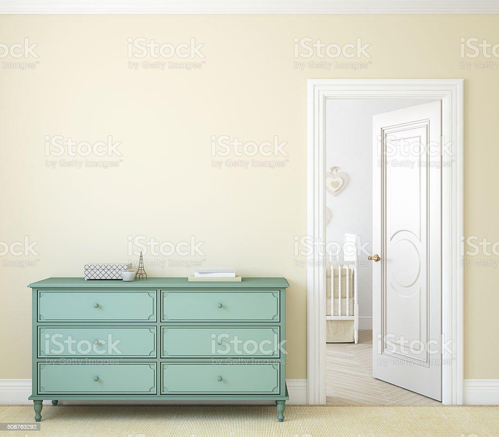 Hallway.3d rendering. stock photo