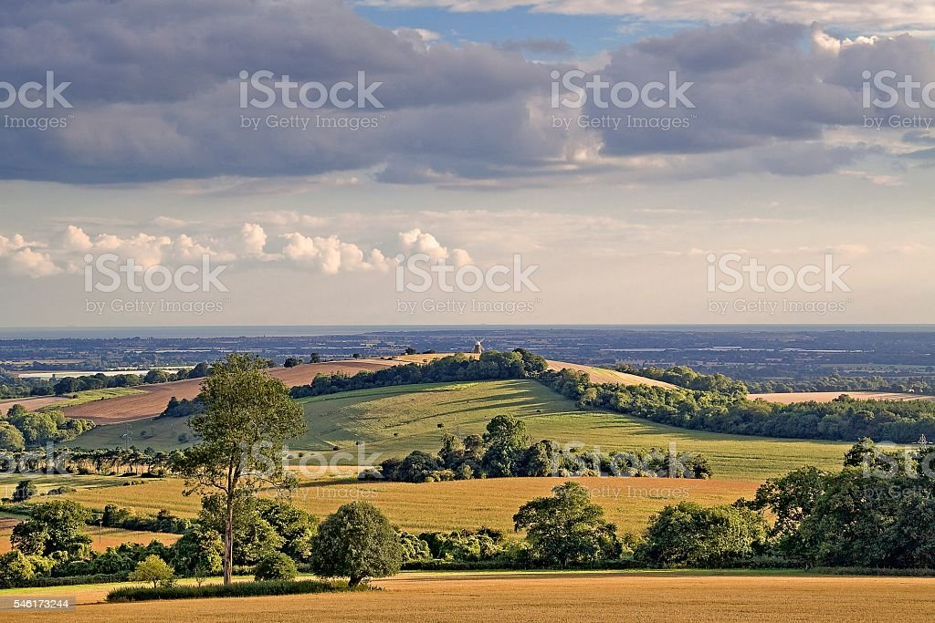 Halnaker windmill and the Manhood Peninsula stock photo