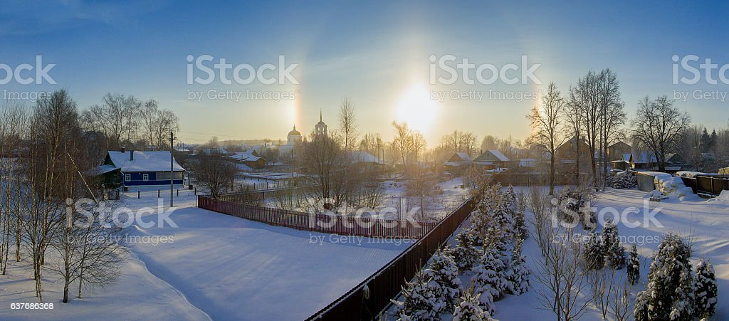 Halo effect of sun in Moscow region, Russia. Winter nature. stock photo
