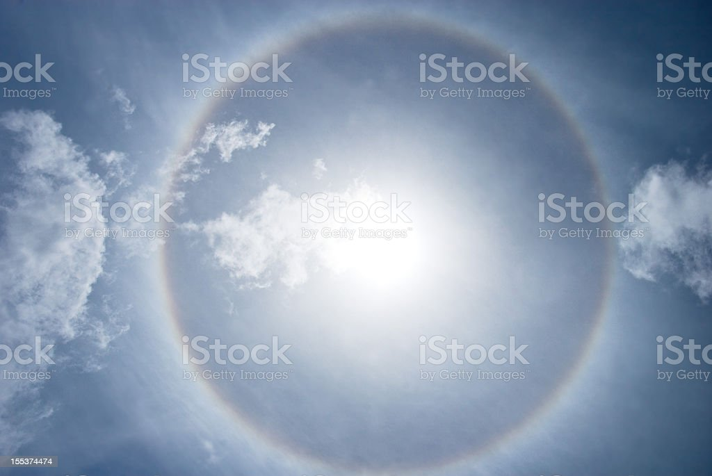 halo nimbus or gloriole around bright sunbeam and sky stock photo