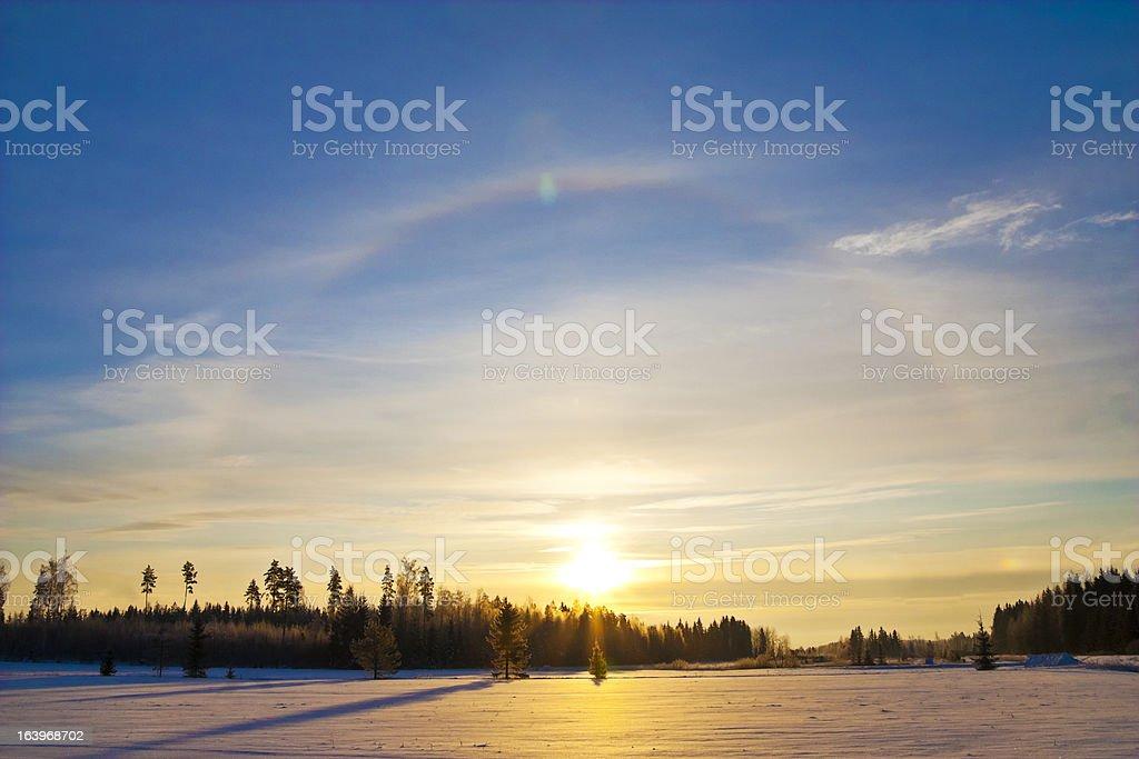 Halo Phenomenon at Winter stock photo