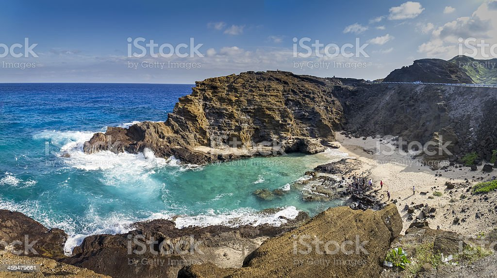 Halona Beach Cove in Oahu, Hawaii stock photo
