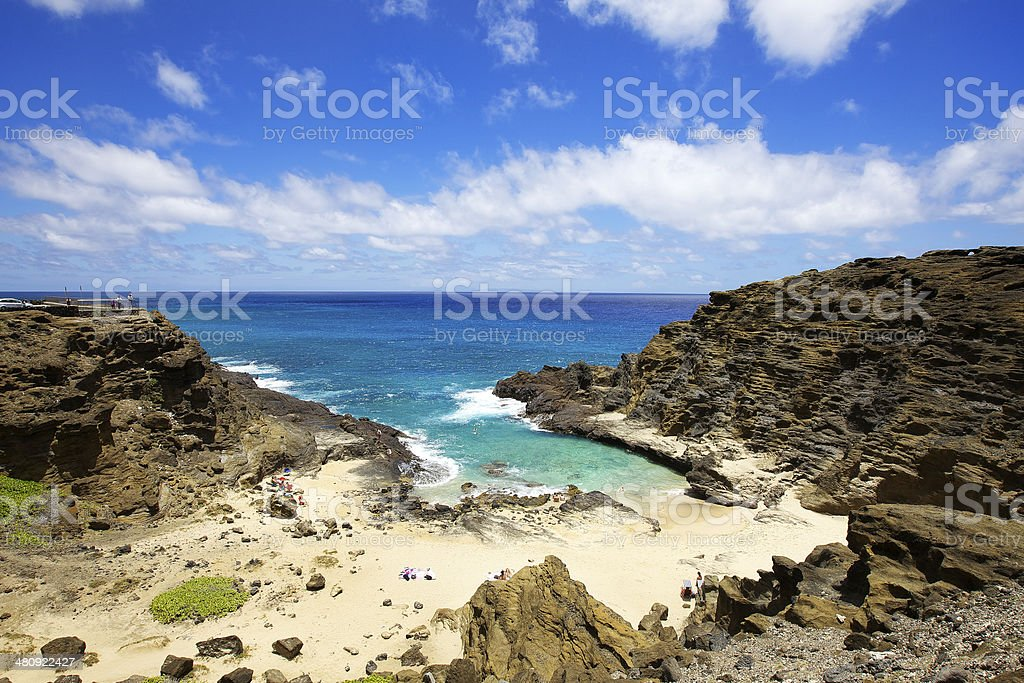 Halona Blow Hole Beach on Oahu, Hawaii stock photo