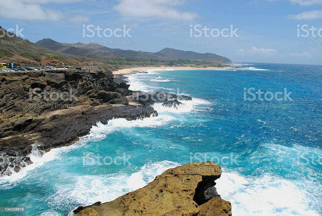 Halona Blowhole and the Coastline in O'ahu royalty-free stock photo