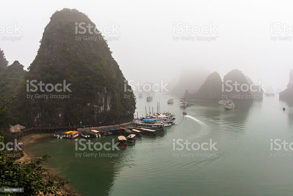 Halong Bay at foggy weather stock photo