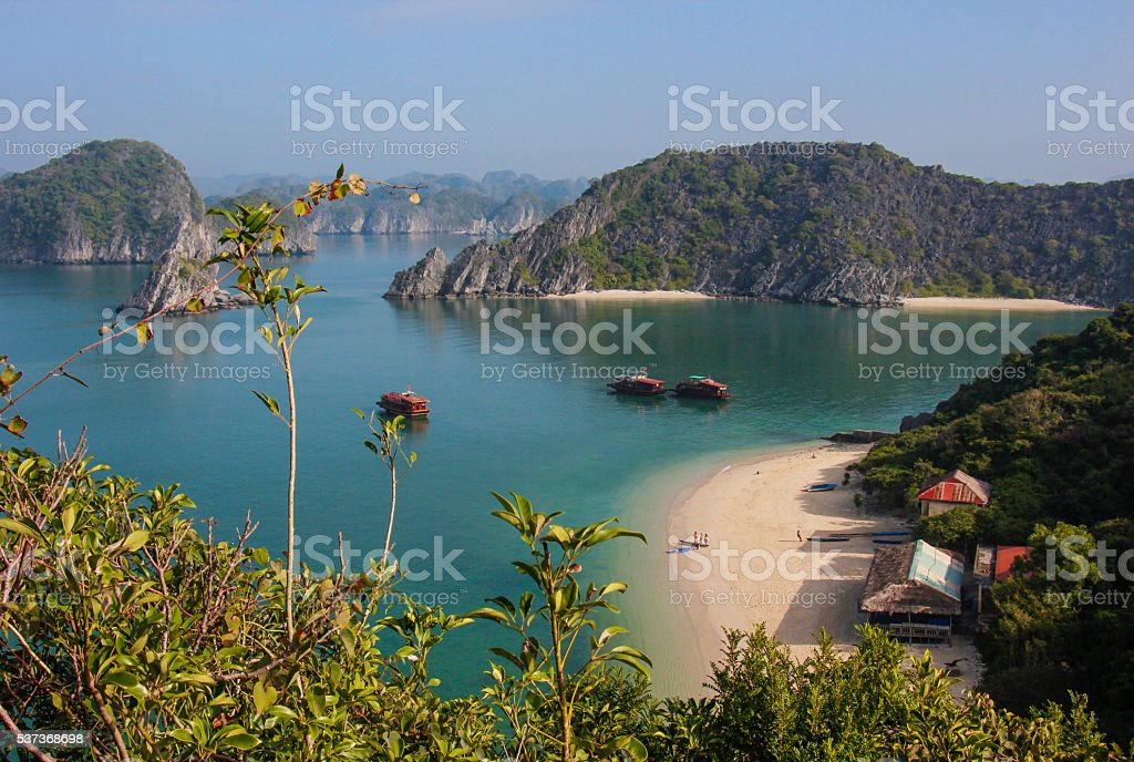 Halong Bay on a sunny day stock photo