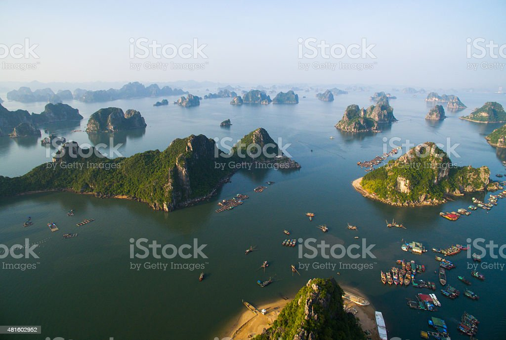 Halong bay seascape from highview stock photo
