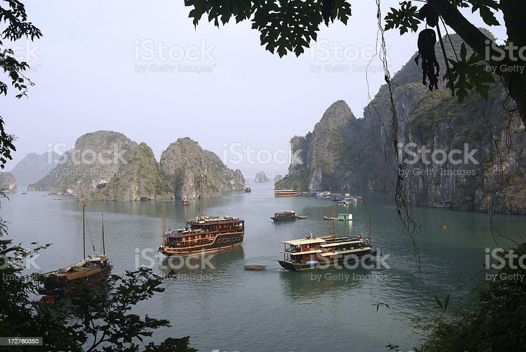 Halong Bay Tour Boats, Vietnam stock photo