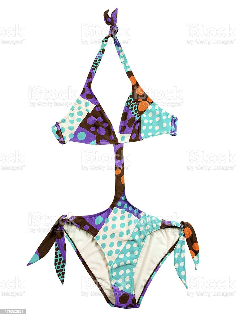 Halter multicolor polka dots monokini stock photo