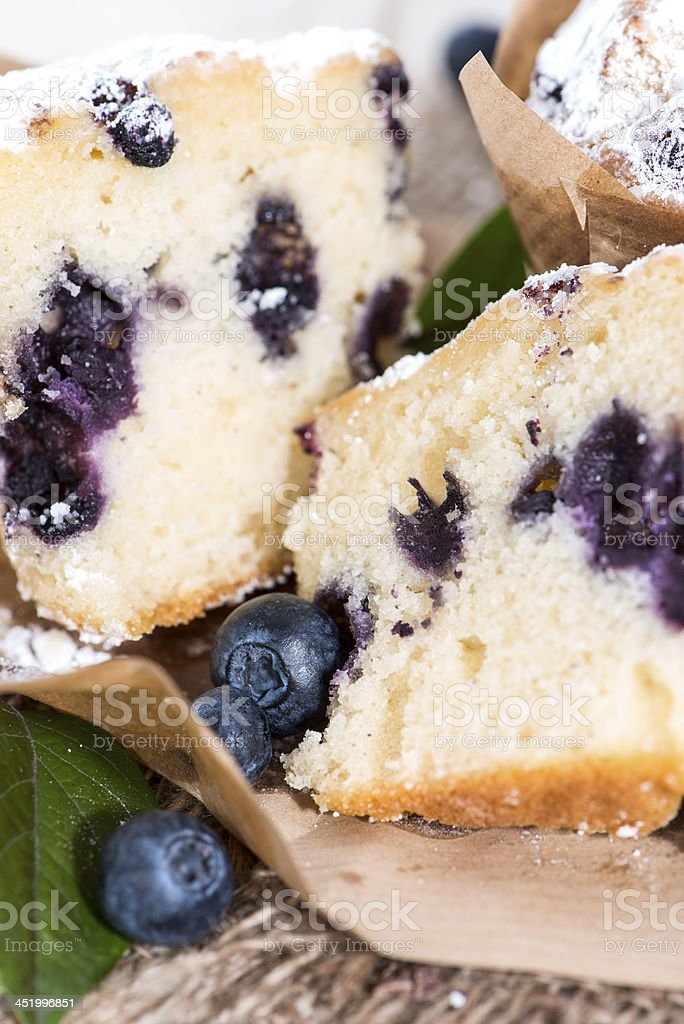 Halved Blueberry Muffin royalty-free stock photo